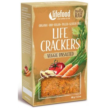 Cracker Veggie Unsalted Life Crackers Raw Organic, 90g