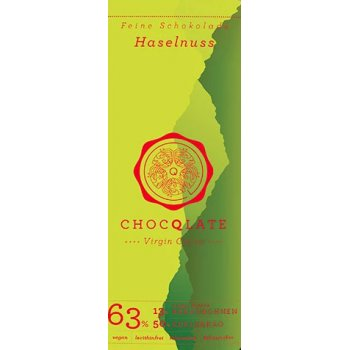 Bar Chocqlate Virgin Chocolate Hazelnuts 63% Organic, 75g