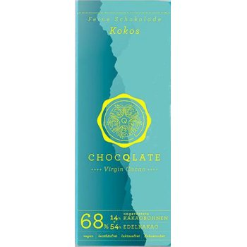 Bar Chocqlate Virgin Chocolate Coconut 68% Organic,75g