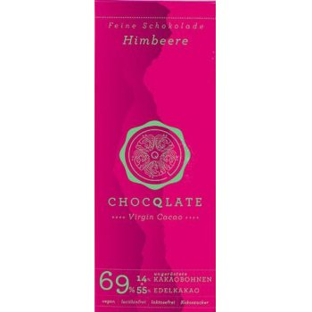 Bar Chocqlate Virgin Chocolate Rasberry 69% Organic, 75g