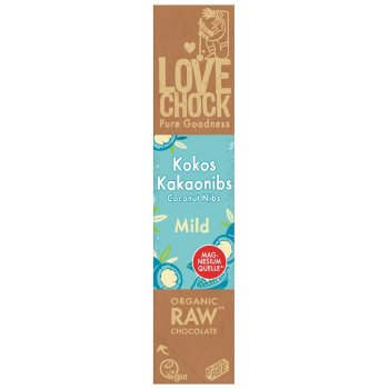 Bar Lovechock Creamy Coconut Nibs RAW Organic, 40g