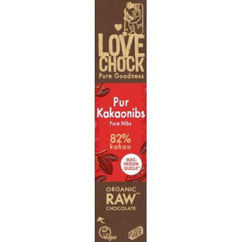 Bar Lovechock Chocolate Pure / Nibs RAW Organic, 40g