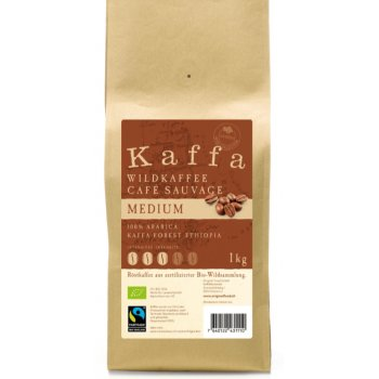 Coffee Wild Coffee Kaffa Medium Beans Fairtrade Organic, 1kg