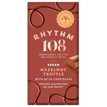 Rhythm 108 M'lk & Hazelnut Truffle Chocolate Tablet Organic, 100g