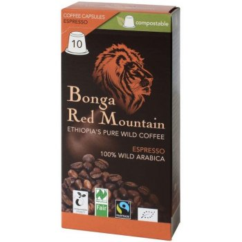 Coffee Bonga Red Mountain Capsules Espresso compostable organic, 10 capsules