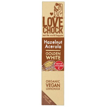 Riegel Lovechock Golden White Haselnuss Acerola Schokolade RAW Bio, 40g