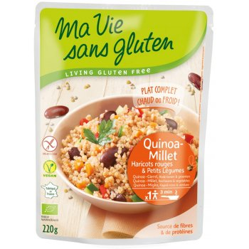 Ready Meal Quinoa Millet Red Kidney Beans Gluten-free Organic, 220g