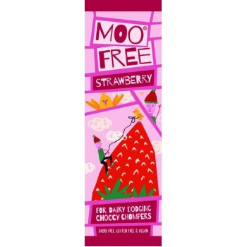 Moo Free Strawberry Chocolate Bar Vegan Gluten Free, 20g