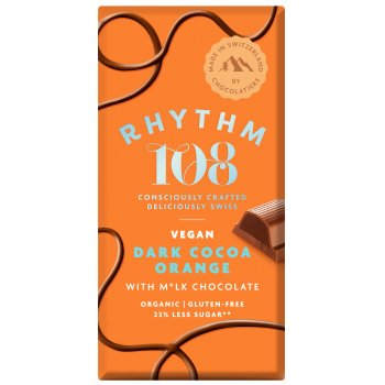 Rhythm 108 Vegan Chocolat Noir Orange Bio, 100g