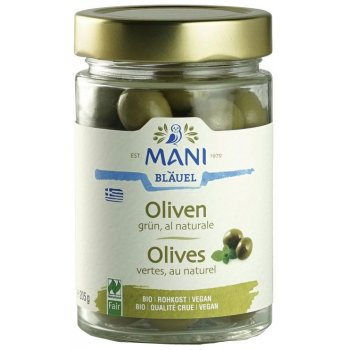 Olives Green Olives WITH STONE al naturale RAW Organic, 205g